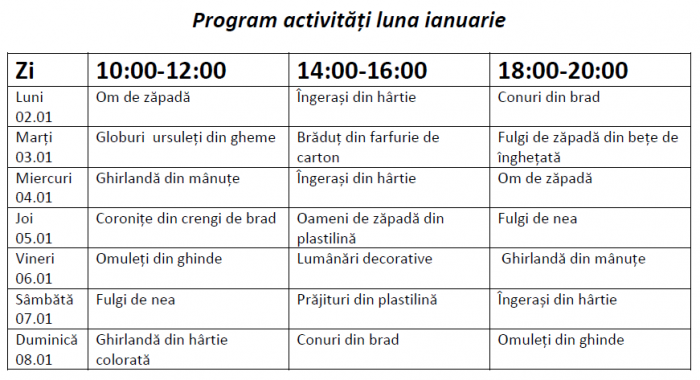 program dreamland ianuarie
